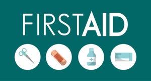 急救工具公共事业涂灰泥止痛药医疗剪刀的镇痛药 向量例证