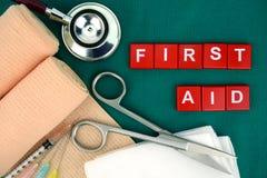 急救工具,医疗物资,医疗应急 免版税库存照片