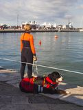 急救队员和她的救生员狗 图库摄影