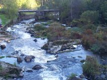 急流和桥梁 库存图片