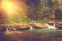 急流美好的风景在一条山河的日出的 免版税库存照片