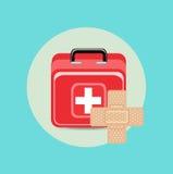 紧急援助案件和听诊器平的设计 库存图片