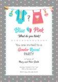 性别显露邀请模板,婴儿送礼会党 库存例证