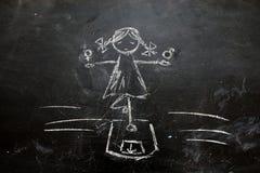 性别标志或标志在黑板和女性的画的男性 库存图片