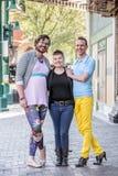 性别流动的青年人三重奏街市 图库摄影