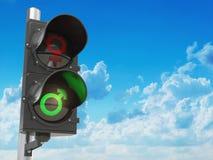 性别男人和妇女的性标志红绿灯的,性别歧视desc 库存照片