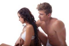 性危机-生气年轻夫妇的概念 图库摄影