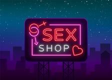 性商店商标,夜签到霓虹样式 霓虹灯广告,性商店促进的一个标志 成人存储 明亮的横幅,每夜 免版税库存照片