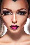 性女性魅力画象与组成和健康皮肤 库存图片