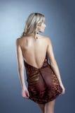 性感亭亭玉立白肤金发摆在有低颈露肩的礼服 库存图片
