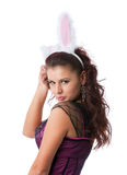 性感兔宝宝的女孩 免版税库存照片