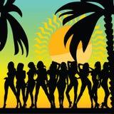 性感和热的女孩和棕榈导航剪影ilustration 库存照片