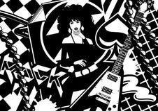 性感女孩的吉他 免版税库存照片