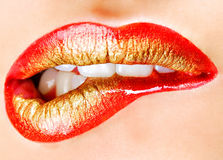 性感女性魅力的嘴唇 免版税库存照片