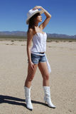 性感女牛仔的沙漠 库存图片