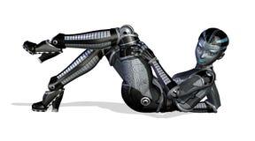 性感姿势斜倚的机器人 免版税库存照片