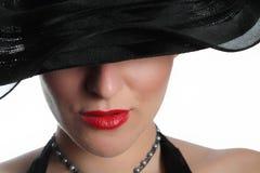 性感帽子的夫人 免版税库存照片