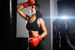 性感战斗机的女孩 免版税图库摄影