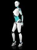 性感机器人妇女摆在。 免版税库存照片