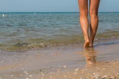 性感海滩的行程 走的女性脚 库存图片