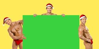 性感的人圣诞老人 免版税库存图片