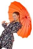 性感的伞妇女 库存照片