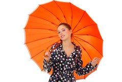 性感的伞妇女 免版税库存照片