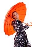 性感的伞妇女 库存图片