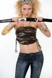 性感的剑妇女 免版税库存图片
