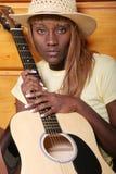 性感的吉他弹奏者 免版税库存照片