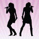 性感的唱歌的向量妇女 免版税库存图片