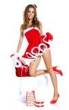 性感的圣诞老人女孩 库存照片