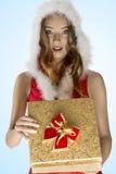 性感的圣诞节女孩开头礼物盒 免版税库存图片