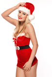性感的夫人圣诞老人 免版税库存图片
