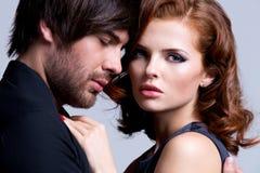 性感的夫妇特写镜头画象在爱的 图库摄影