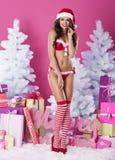 性感的女性圣诞老人 库存照片