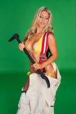 性感的女性消防队员 库存照片