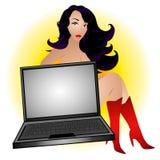 性感的女性计算机怪杰 免版税图库摄影