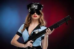 性感的女警。 免版税库存照片