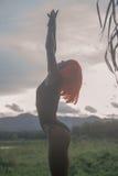 性感的妇女创造性的神色橙色假发的在日落的绿色领域 免版税库存图片