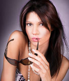 性感的妇女方式纵向  免版税库存照片