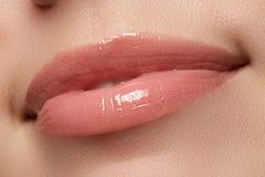 性感的妇女的嘴唇 秀丽嘴唇构成 美丽组成 肉欲的开放嘴 唇膏和嘴唇光泽 自然充分的嘴唇 库存照片