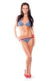 性感的妇女-在游泳衣的深色的模型 免版税库存图片
