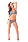 性感的妇女-在游泳衣的深色的模型 免版税库存照片