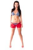 性感的妇女-在游泳衣的深色的模型 免版税图库摄影