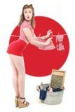 性感的姿势的美丽的减速火箭的画报女孩 图库摄影