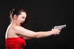 性感的少妇-开枪在黑色背景 免版税库存照片