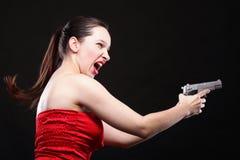 性感的少妇-开枪在黑色背景 库存照片