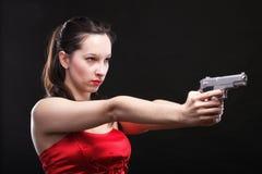 性感的少妇-开枪在黑背景 免版税库存照片