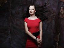 性感的年轻红色礼服的秀丽深色的妇女 库存照片